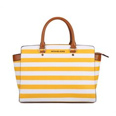 Michael Kors Selma Striped Large Yellow White Satchels #AllAccessKors