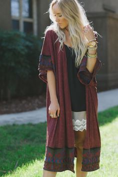 Embroidered Gypsy Duster Cardigan by Three Bird Nest | Women's Boho Clothing Boutique