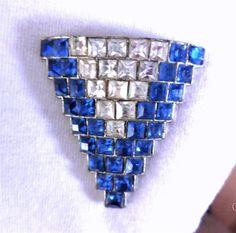 "Vintage ""V"" Dress Clip Brooch Blue Square Princess Cut Rhinestones DECO 1920's"