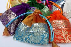 Jewelry Gift Bags Pack of 100 Organza with Brocade Trim assorted Colors 4x4 inch ,Wedding Favor Bags, Party Favor by CatFluff, $50.00 USD