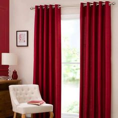 Arthi Bedroom Red Dakota Lined Eyelet Curtains