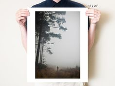 Misty landscape photograph. Foggy forest figure by dianapappas, $20.00