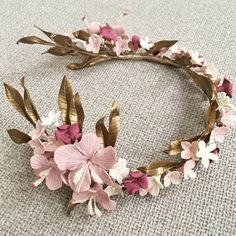 Flower tiara, pink and gold Flower Tiara, Bridal Crown, Wedding Headband, Floral Headpiece, Hair Vine, Tiaras And Crowns, Floral Crown, Bridal Headpieces, Hair Jewelry