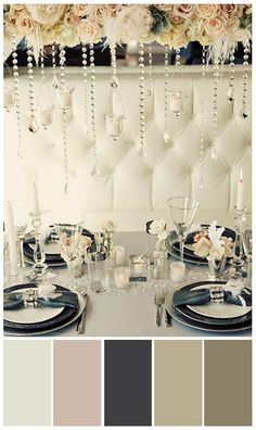 2014 Great Gatsby Color scheme wedding is gold, black and cream---(if need be, add pop colors, light blue, pink or mint green) or red for a more romantic wedding décor. www.MadamPaloozaEmporium.com www.facebook.com/MadamPalooza