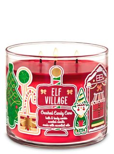 Bath & Body Works Crushed Candy Cane Candle - Bath And Body Bath Candles, 3 Wick Candles, Scented Candles, Bath N Body Works, Bath And Body Works Perfume, Christmas Scents, Christmas Candles, What Is Christmas, Christmas Time