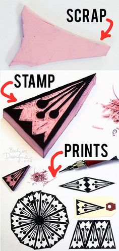 Julie Fei-Fan Balzer - stamps from leftover blocks Diy Stamps, Homemade Stamps, Stamp Printing, Screen Printing, Printing On Fabric, Engraving Printing, Stamp Carving, Carving Tools, Eraser Stamp