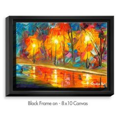 """DiaNocheDesigns 'Streetlights' by Jessilyn Park Painting Print on Wrapped Framed Canvas Frame Color: Black, Size: 13.75"""" H x 17.75"""" W x 1.75"""" D"""