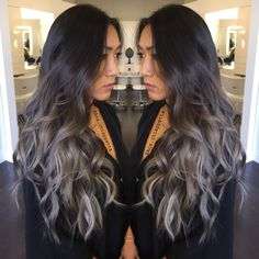 Silver hair, grey hair, balayage, ombré, sombre, blue grey, @colorbyana Cristophe salon Newport Beach