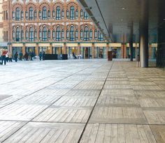 Concrete paving tile for exterior floors (wooden deck tile look) COSMOCAIXA MATA