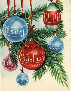 a vintage Merry Christmas card Vintage Christmas Images, Old Christmas, Vintage Christmas Ornaments, Vintage Holiday, Christmas Pictures, Christmas Greetings, Christmas Crafts, Christmas Decorations, Christmas Things