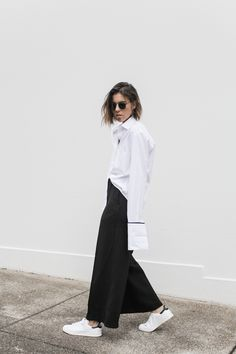 Adidas Stan Smith, street style, off duty, oversized French cuff shirt, Anna Quan, wide leg pant, monochrome, fashion blogger, modern legacy