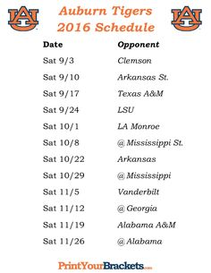Printable Auburn Tigers Football Schedule 2016