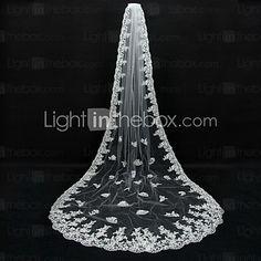 Romantic Lace Appliques Chapel Bridal Veils / Cathedral Veils Ivory Lace Long Wedding Veil - CAD $83.39