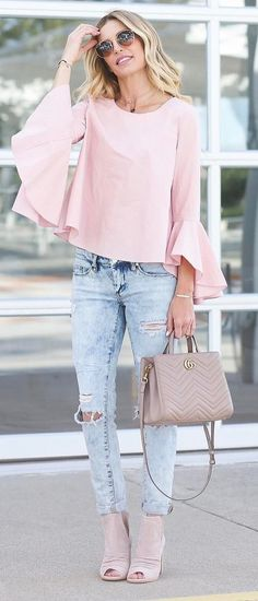 trendy outfit blush top + bag + rips