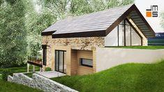 Projekt nowoczesnego domu w górach na działce ze spadkiem nowoczesna architektura elewacja z kamienia - Bielsko Biała - JMS