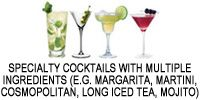 Specialty Cocktails with multiple ingredients (e.g. Margarita, Martini, Cosmopolitan, Long Island Iced Tea, Mojito)
