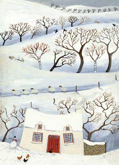 'Winter In The Little Mountain' By Painter Valeriane Leblond. Blank Art Cards By Green Pebble. www.greenpebble.co.uk