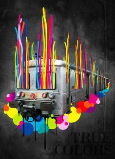 Sylvain Combe - True Colors #illustration #train #multicolored #paint #ink #color