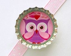I Love You Owl Bottle Cap Magnet - valentines gift, valentines day gift, owl decor, owl magnet, owl party favors, owl favors, owl theme
