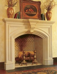 The FREMONT fireplace mantel may be adapted to fit varying firebox heights.     Optional overmantels are available.