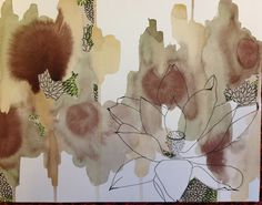 mixed media artwork with watercolor, lotus flower pen drawing and decorative paper beneath the cut-out windows.