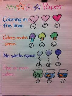 "For first unit: Illustrator's Workshop Great Kindergarten anchor chart for pictures/colouring from ""Welcome to Room Classroom Posters, Classroom Fun, Classroom Activities, Classroom Organization, Classroom Management, Classroom Procedures, Classroom Tools, Kindergarten Anchor Charts, Kindergarten Literacy"