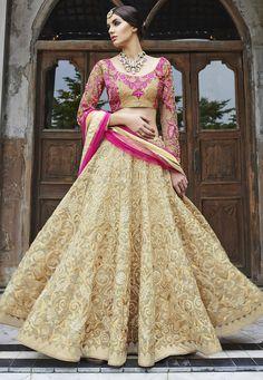 Buy Beige Art Silk Lehenga with Dupatta online, work: Embroidered, color: Beige, usage: Bridal, category: Lehenga Choli, fabric: Art Silk, price: $293.90, item code: LML14, gender: women, brand: Utsav