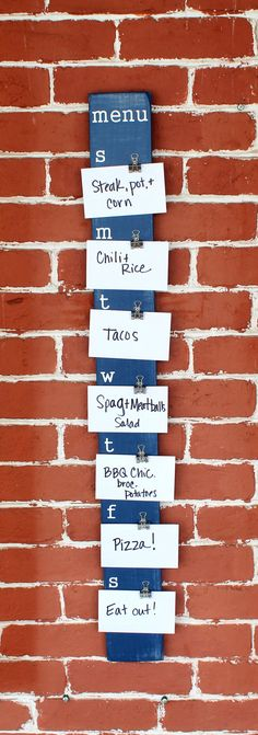 What a great IDEA. I desperately need some help and organization here. Menu Board 3.75 x 36.5 Made to Order Meal by JolieMaeCollections