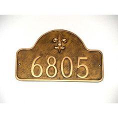 Montague Metal Products Estate Fleur de Lis One Line Arch Address Plaque Finish: Brick Red / Silver, Mounting: Lawn