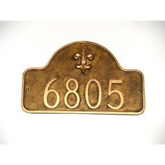 Montague Metal Products Estate Fleur de Lis One Line Arch Address Plaque Finish: Sea Blue / Gold, Mounting: Lawn