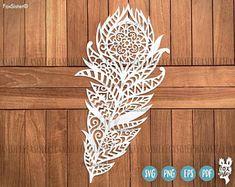 Mandala Boho Feather SVG Cut File Templates | Tribal Feather | Feather vector | silhouette | svg cut files | Paper & vinyl | Cricut | Cameo
