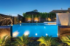 Gallery featuring images of the Eye-Popping Burgess Street project by C. Design, a modern home fully integrated with its tiered landscape design, centered around an infinity edge pool. Tiered Landscape, Front Garden Landscape, Modern Landscape Design, Modern Landscaping, Pool Landscaping, Garden Pool, Courtyard Pool, Glass Pool, Infinity Edge Pool
