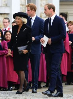 Camilla, Duchess of Cornwall, Prince Harry and Prince William, Duke of Cambridge attends The Requiem Mass for Hugh Van Cutsem at Brentwood Cathedral in Brentwood, Essex, UK, on 11 Sep 2013