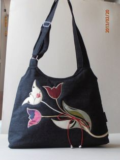 black denim bag with tulip application