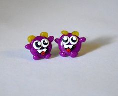 Polymer clay Purple Tiny Monster Earrings by wehnerdogcreations