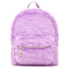 Forever21 Faux Fur Mini Backpack ($20) ❤ liked on Polyvore featuring bags, backpacks, purple, structured bag, purple bags, pink bag, forever 21 backpacks and top handle bags