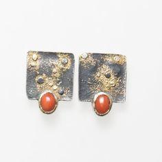 Ohrstecker aus Silber und Gelbgold Cufflinks, Etsy, Accessories, Fashion, Silver Jewellery, Gemstones, Handmade Jewelry, Stud Earring, Ear Piercings