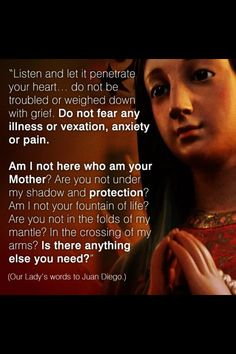 from Our lady of Guadalupe's words to St. Diego…Mother Mary please pray for us our intentions the conversion of all sinners and world peace. Catholic Quotes, Catholic Prayers, Religious Quotes, Christianity Quotes, Catholic Sacraments, Novena Prayers, Orthodox Christianity, Blessed Mother Mary, Blessed Virgin Mary
