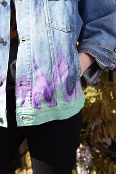 Cute Mistake Flame Jacket as featured on ASOS Tumblr. Hand painted one of a kind. DIY Denim. Vintage denim Jacket. Check out more in our shop www.cutemistake.com