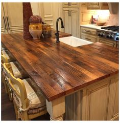 Country Kitchen Island, Kitchen Island With Sink, Kitchen Redo, Kitchen Remodel, Kitchen Island With Butcher Block Top, Kitchen Island Countertop Ideas, Kitchen Ideas, Reclaimed Wood Kitchen, Reclaimed Timber