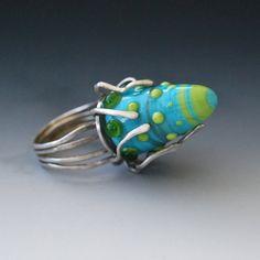 Silber und Glas Ring