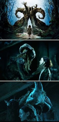 Ivana Baquero as 'Ofelia' & Doug Jones as 'Faun' in Guillermo del Toro's Pan's Labyrinth (2006)
