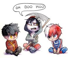 Zuko, Zack, and Todoroki! All of these sweeties have rough backstories but Zack makes them not look so bad in contrast XD… My Hero Academia Memes, Hero Academia Characters, My Hero Academia Manga, Anime Characters, Anime Crossover, Best Crossover, Angel Of Death, Illustration Studio, Chibi