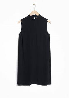 Other Stories image 1 of Crepe Turtleneck Dress  in Black