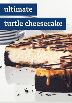 Ultimate Turtle Cheesecake -- Creamy cheesecake. Chocolate cookie crust. Chocolate-caramel drizzle. A dash of pecans. Be sure to save yourself a piece of this dessert, because it's gonna go fast.