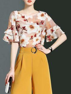 #AdoreWe #StyleWe Blouses❤️Designer LONYUASH Multicolor Crew Neck Frill Sleeve Floral-print Blouse - AdoreWe.com