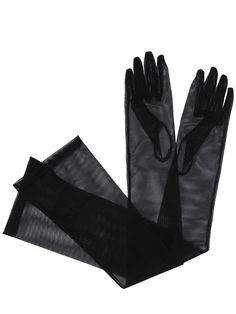 GUCCI - CLARINE LONG TULLE GLOVES - BLACK