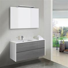 Job Wall Hung 120cm Mineral Basin with 4 Drawers & LED Mirror, White/Grey Ash Modern Small Bathrooms, Grey Bathrooms, Luxury Bathrooms, Vanity Units, Vanity Sink, Bedroom Loft, Bathroom Furniture, Powder Room, Downstairs Loo