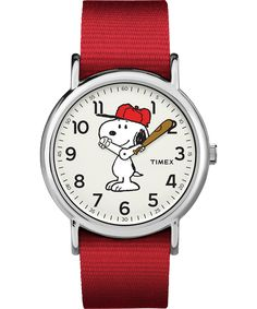 Let Snoopy tell the time. We've teamed up with the Peanuts gang to put your favorite characters on your wrist. Snoopy's arms move as the watch hands and the interchangeable slip-thru strap coordinates with his red baseball cap.