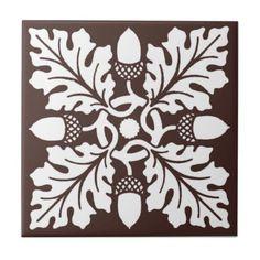 Mahogany Acorn and Leaf Tile Design